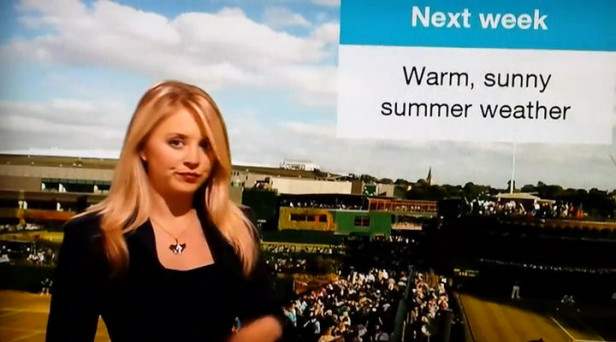 BBC weather girl not a happy bunny off camera