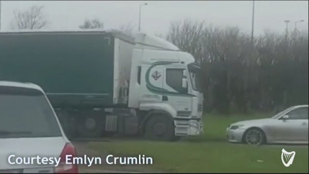 1fe47af37d2e0b VIDEO  Lorry filmed going around one of Ireland s busiest roundabouts in wrong  direction. Emlyn Crumlin