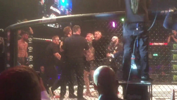 WATCH: Conor McGregor causes chaos at Dublin MMA event after jumping into  cage and sparking massive row with referee