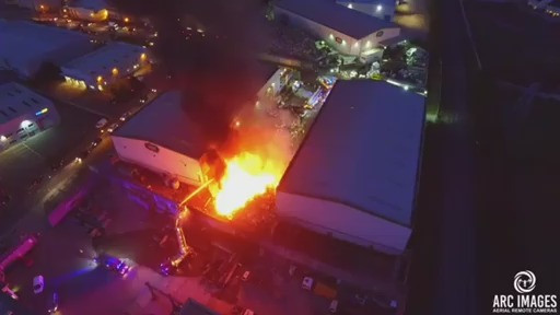 VIDEO: Aerial footage shows major fire at scrap metal recycling factory in  Limerick
