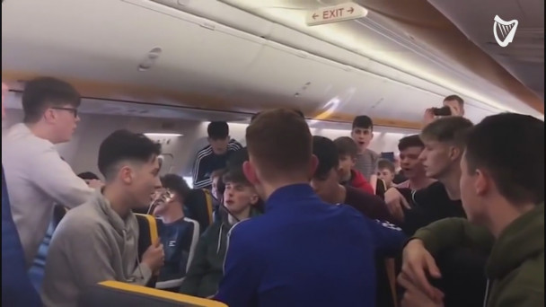 WATCH: Killarney music students have epic trad session during Ryanair flight
