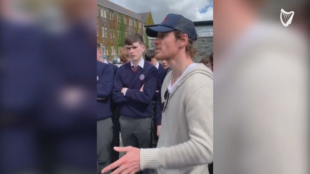 WATCH: Michael Fassbender shares life advice with Killarney secondary  school students